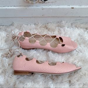 Anthropologie Billy Ella Pink Lace Up Flats